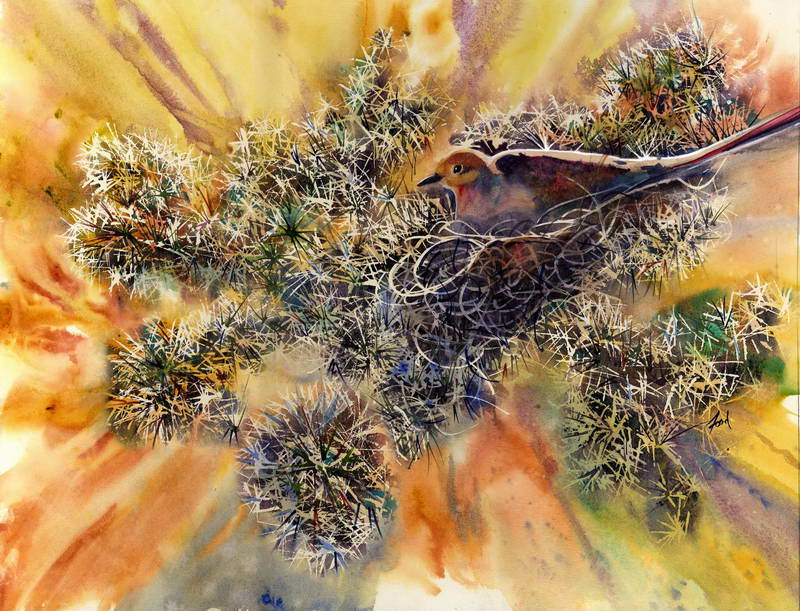 Nesting Among the Cactus  18x24in  $450 orig. framed