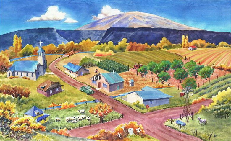 32 inch x 51 inch commission painting of the town of Ortiz NM in 1942